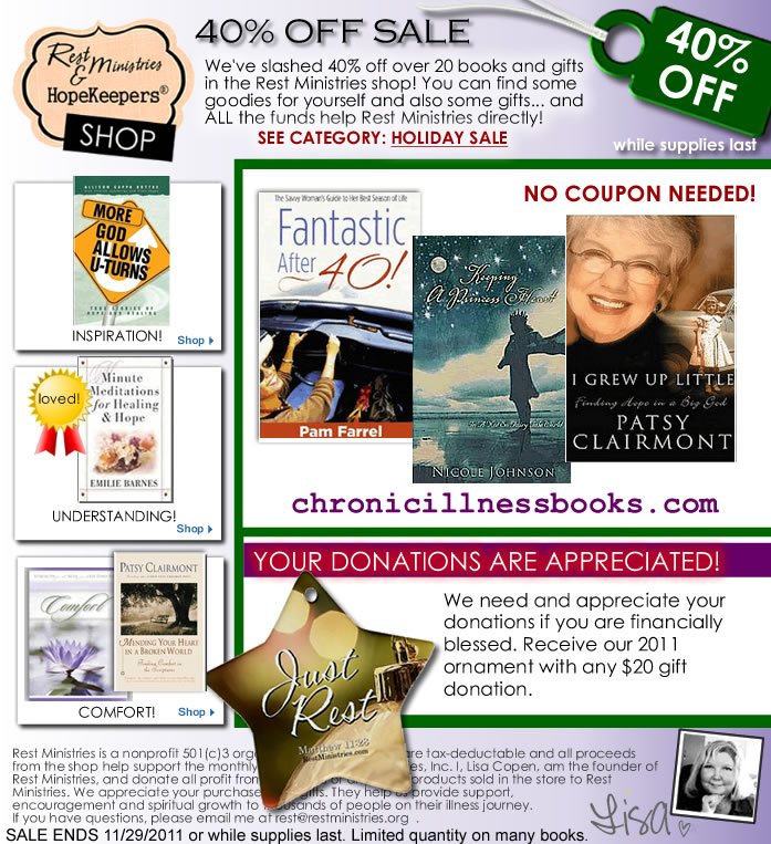 eFlyer: 40% Off at Rest Ministries Bookstore on Over 20 Items