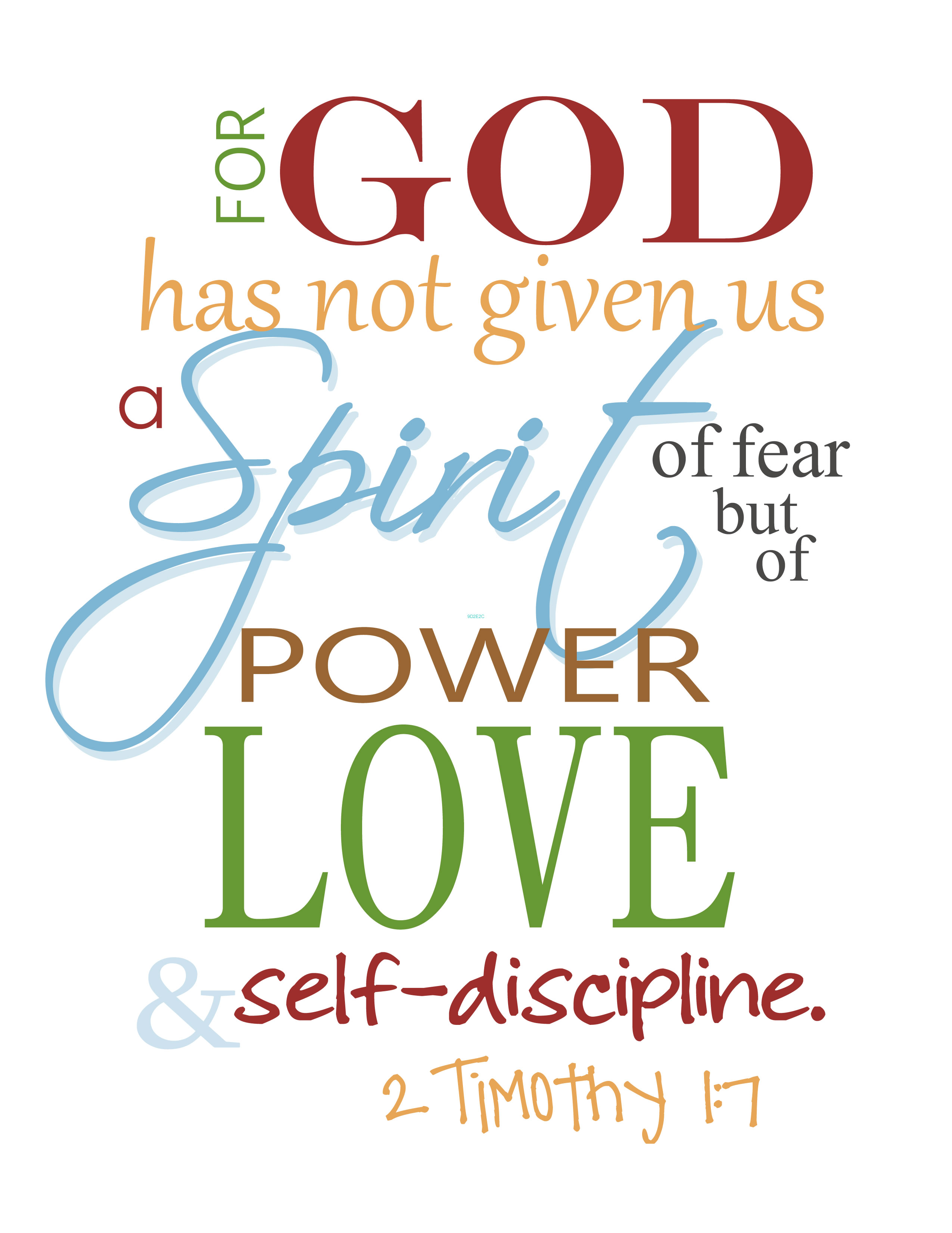 god has not given us a spirit of fear God Did Not Give Us A Spirit of Fear Free Printable