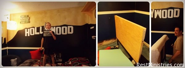 IKEA $39 BED REDO: This pine bed from IKEA was spray painted black, but on bed risers, and the headboard was built up with plywood, covered with foam and batting/fabric. A side board too! #diy