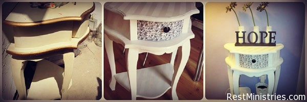 TABLE MAKEOVER - this ten-dollar table was given a fresh coat of paint, modge podge and paper on the drawer, and flat and gloss white paint to make stripes on the top. #diy - cute!