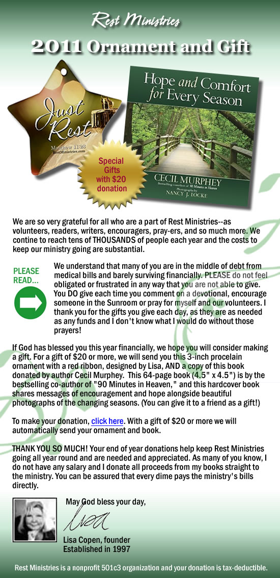 2011 Rest Ministries Ornament and Book – Free with $20 Donation